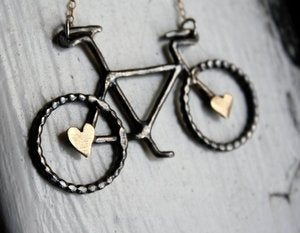 Image of Black and Gold- Oxidized Sterling Silver Bike Pendant with Brass Hearts