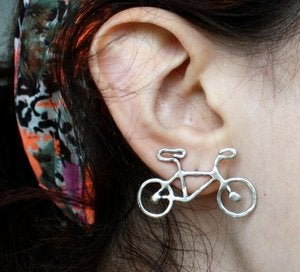 Image of Tiny Sterling Silver Bike Studs