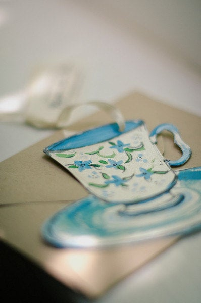 Image of Hand painted tea party wedding invitesample