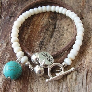 Image of Boho Wrap Bracelet - Mother of Pearl Turquoise