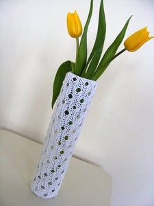 Image of handknit lace vase cosy in white