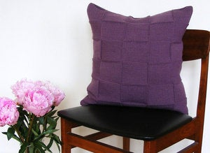 Image of Hand Knit Cushion 50 x 50cm - plum weave.