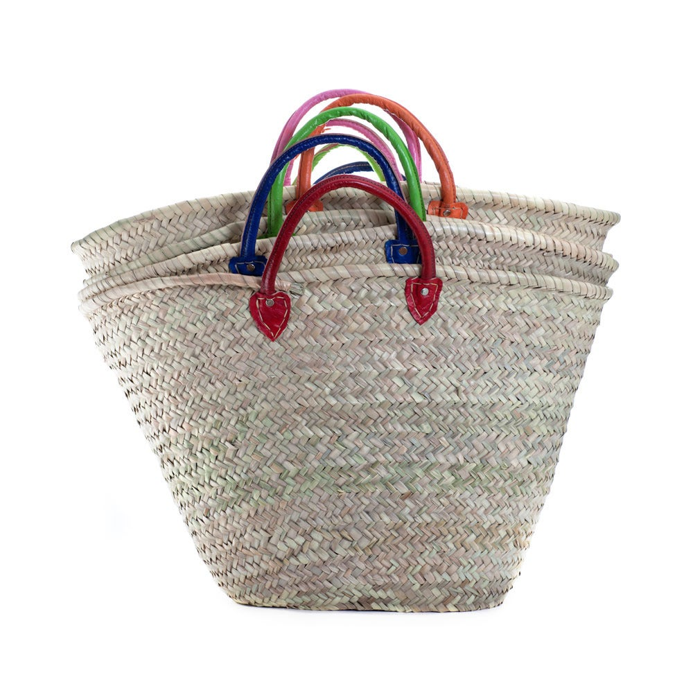 Image of Moroccan market bag with colored leather handle