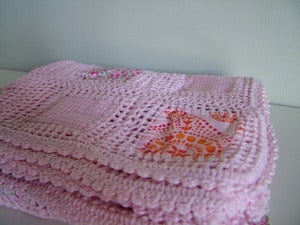 Image of Hand Crochet Patchwork Baby Blanket - Pink or Blue