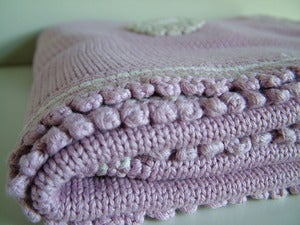 Image of Organic Hand Knitted Baby Blanket - Dusky Pink