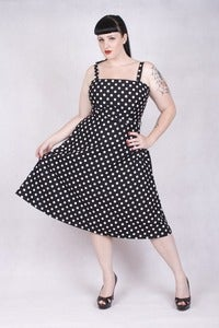 Image of 'Rocker Girl Jane' dress - Black with White Polka Dots