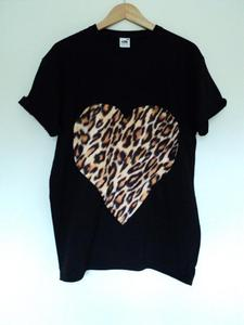 Image of Leopard Print Heart T Shirt
