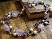 Image of Lavenders Reign Long Necklace | Amethyst, Freshwater Pearls, Sterling
