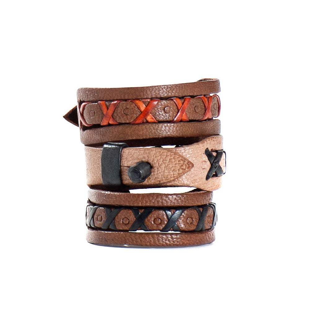 Image of Patterned Leather Bracelets