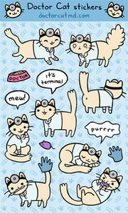 Doctor Cat Sticker Sheet