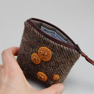 Image of Soft brown Harris tweed coin purse