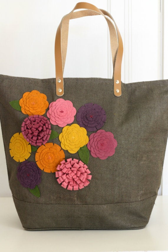 Image of Mulberry Felt Flower Jute Bag