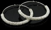 Image of silver crystal encrusted hoop earrings