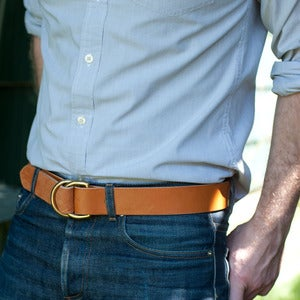 Image of The F/M x W&F D-Ring Belt - 1.5in Tan/Brass