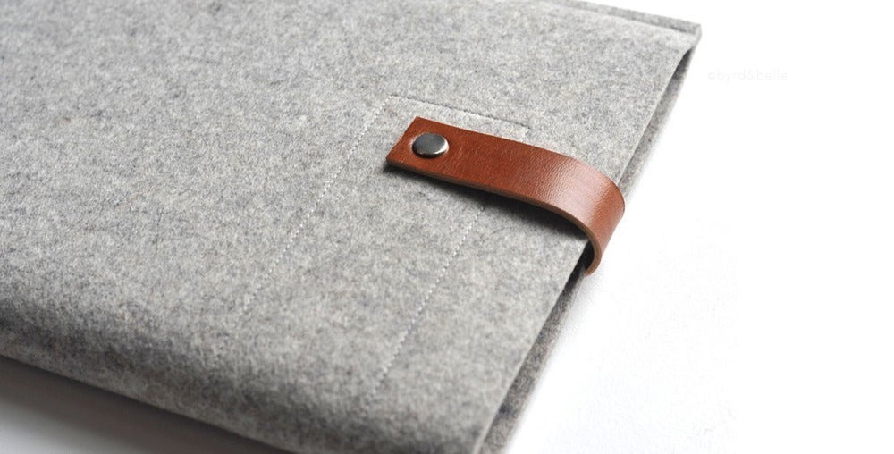 Image of iPad/Kindle Sleeve - Gray Wool Felt and Brown Leather