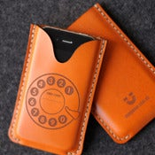 Image of iPhone Leather Case with back pocket - Dial Phone