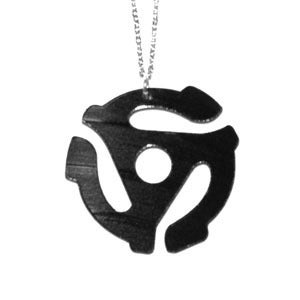 Image of 45 Adapter Necklace/Earrings made from a recycled vinyl record.