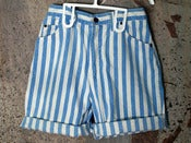 Image of Striped Denim Shorts