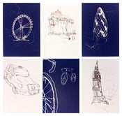 Image of 'LONDON' BLUE AND WHITE NOTELET SET