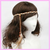 Image of Hippie - BoHo Suede Braided Feather Headband 