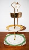 Image of 3 Tier 'Harry's' Gold & Green Vintage Cupcake Stand