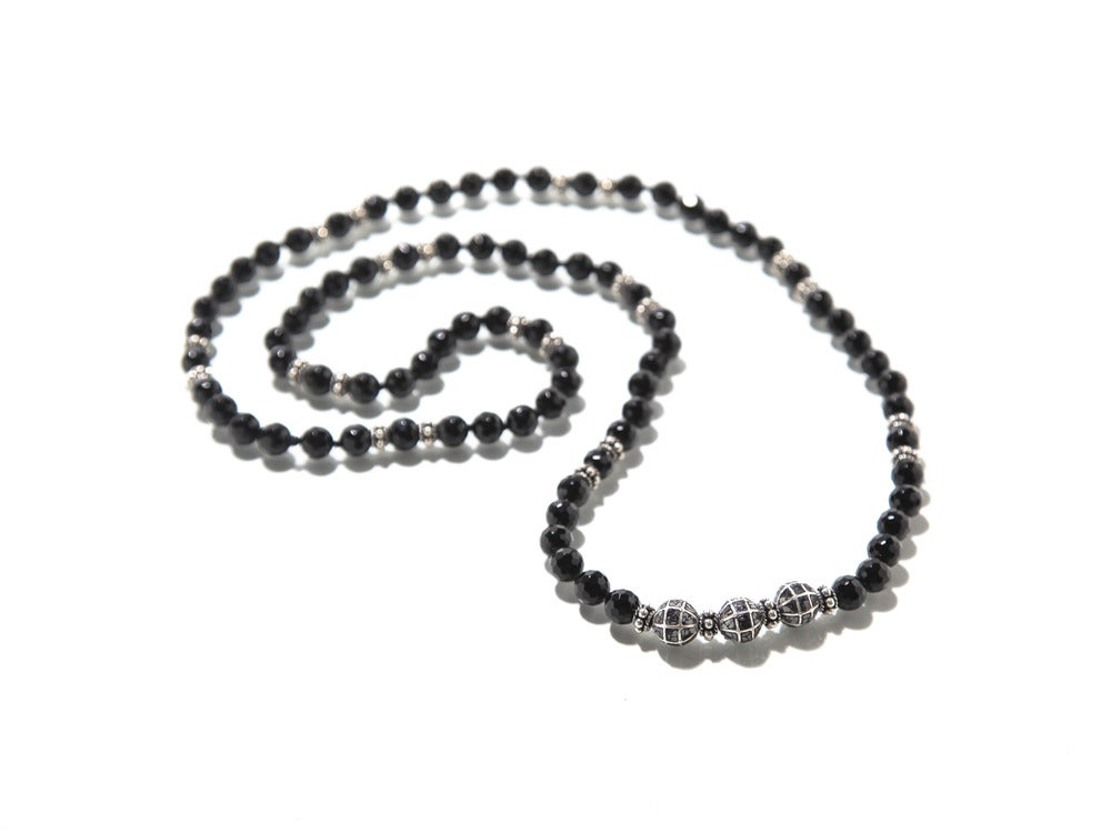 Image of Necklace: Onyx w/ Silver & Raw Diamonds