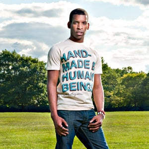 Image of Mens Handmade By Humans tee shirt - creme authentic American Apparel slim fit 100% cotton tee