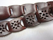 Image of Vintage Brown Leather Cutout Connected Loop Belt