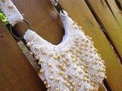 Image of Ivory Macrame with Wooden Beads Mini Hobo