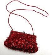 Image of Red Beaded Sparkle Purse Brilliant Red Lancome Clutch
