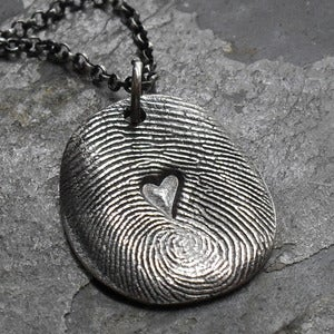 Image of Fingerprint Necklace with Heart Impression in Fine Silver (Style#103)