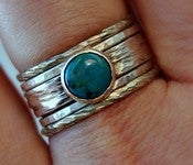 Image of Rustic, distressed chunky set of turquoise & sterling silver stacking rings