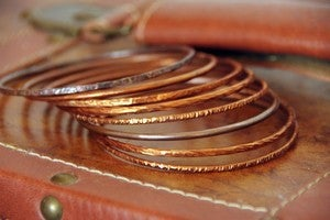 Image of 8 Hammered, Copper Stackable Bangles / Bracelets Rustic & Organic, brown, burnt, sienna, terracotta,