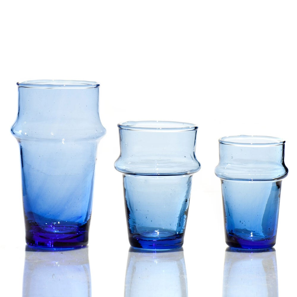 Image of Hand-blown recycled Moroccan tea glasses