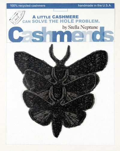 Image of Iron-on Cashmere Moths - Dark Grey