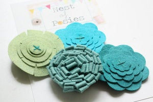 Image of Felt Posie Cluster - Misty Mornings