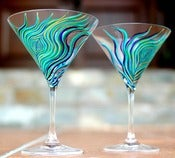 Image of Peacock Martini Glasses-Set of 2