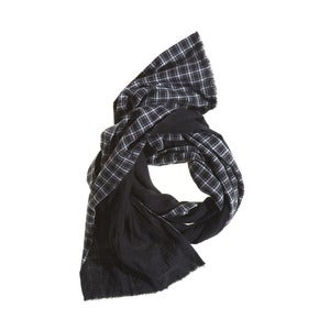 Image of Dylan Plaid Linen Scarf by Matteo