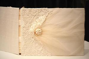 Image of Luxury Personalized Photo Album 9x12, Guest Book Lace Wedding Book