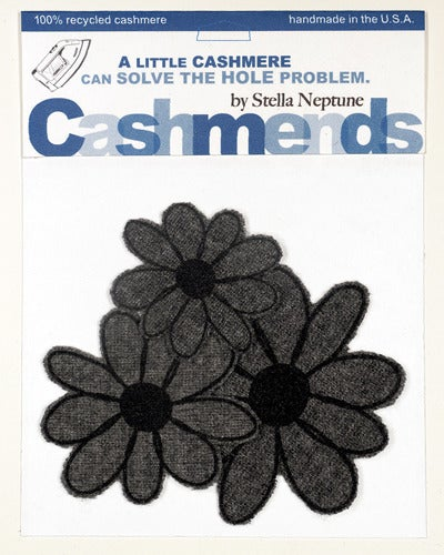 Image of Iron-on Cashmere Flower - Dark Grey