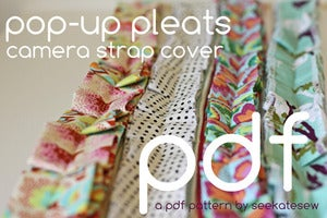 Image of pop-up pleats camera strap cover PDF pattern