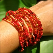 Image of India Red Fiesta Beads and Chula Clip