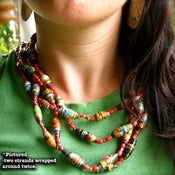 Image of Strand of Hand Made Paper Beads by Lisita