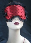 "Image of ""Babette"" boudoir sleep mask in red satin"