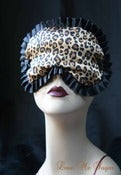 "Image of ""Marceline"" satin sleep mask in leopard print with black trim"