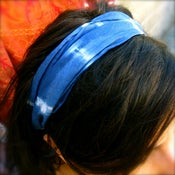 Image of Deep Sea Blue Silk Head Scarf