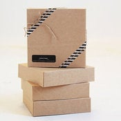 Image of Kraft Gift Boxes 6 1/2 x 6 1/2 x 1 5/8 inch