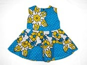 Image of Kenya Blue and Yellow Ruffle dress