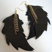 Image of Black Leather Feather and Gold Dusted Earrings