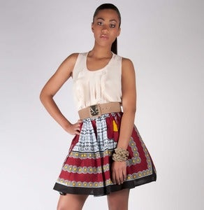 Image of Red Khanga Print Skirt